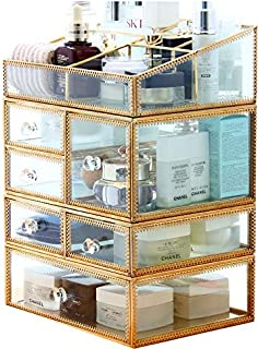 X Large Gold Makeup Organizer 4 Pieces Clear Acrylic Jewelry and Cosmetic Storage Display Boxes with 6 Drawers By KLGO