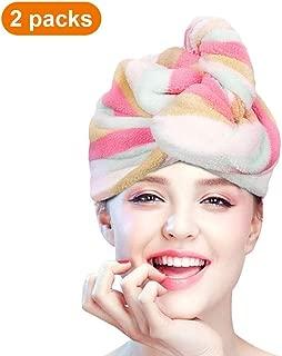 esafio Microfiber Hair Towel, Quick Dry Hair Towel Wrap - Super Absorbent, Unique Design, Rainbow Color(2 pack)