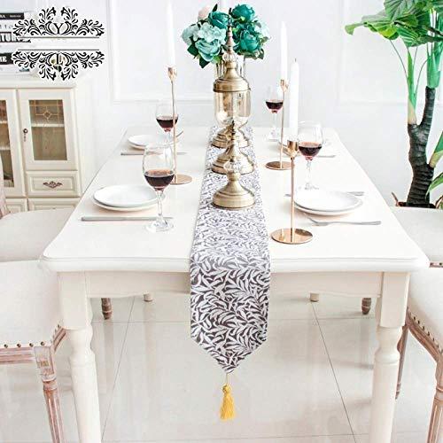 Camino de mesa gris, diseño minimalista nórdico con hojas impresas, bandera de cama moderna, suministros para decoración del hogar, boda, fiesta, mantel, bandera, 17 x 180 cm