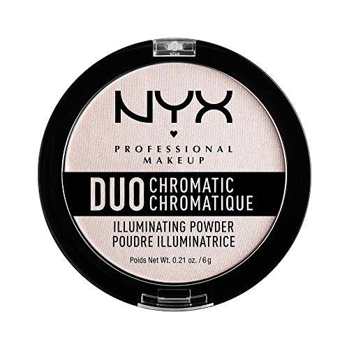 NYX Professional Makeup Puder - für einen frischen, natürlichen Look, strahlendes Finish, Duo Chromatic Illuminating Powder, Snow Rose 04