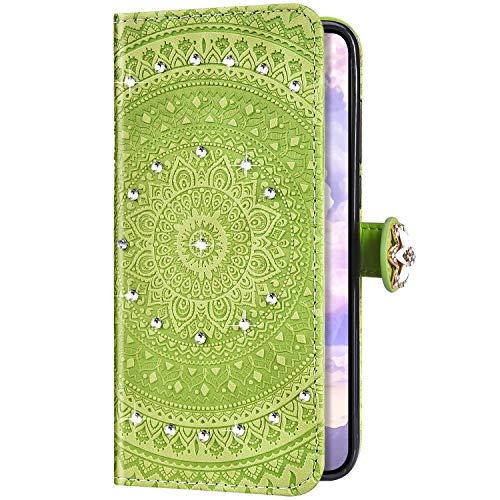 Uposao Kompatibel mit Huawei P Smart 2018 Hülle Wallet Handyhülle Strass Diamant Glänzend Bling Mandala Blumen Muster Leder Tasche Schutzhülle Brieftasche Klapphülle Flip Case,Grasgrün