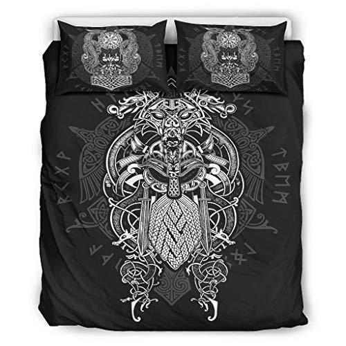 Generic Branded Bettdecke Viking Odin Leichte Ganzjährige - 3-Teiliges Bettbezug-Set für Home Lodge White 168x229cm