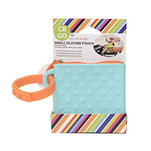 CB Go Small Silicone Pouch. On-The-Go for Stroller and Diaper Bag Organizer for Pacifiers, Keys, Credit Cards & More, Turquoise