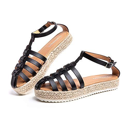 Sandalias Mujer Verano Plataforma Alpargatas Cuña Comodas Zapatos de Vestir Tacón Hebilla Tobillo Cerrado Negro 41 EU