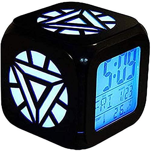 Energy Nuclear Reactor 3D Estéreo Estéreo Reloj de Alarma LED Luz Noche Creativa Cama Cama Reloj de Alarma USB Carga (Siete Colores)