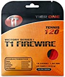 Tier One Sports T1-Firewire - Co-Poly Tennis String for Ultimate Spin (Set - Red, 17 Gauge (1.25 mm) - 12,2 m Set)