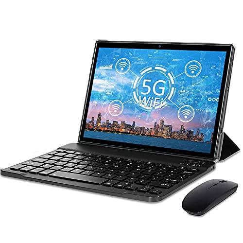 Tablet 10 Pollici Android 10.0,Tablets 5G (2.4Ghz e 5Ghz) Certificato Google GMS,4 GB RAM e 64 128GB ROM,Doppi WiFi, Incluso Ttastiera Bluetooth,Mouse,Custodia per Tablet e Altro -Type-C (nero)