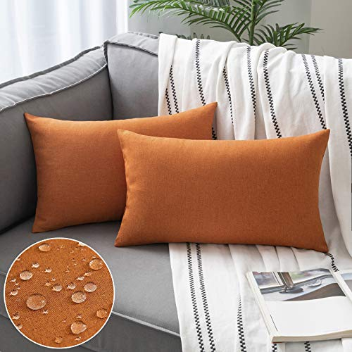 Woaboy Set of 2 Outdoor Waterproof Throw Pillow Covers Decorative Farmhouse Cotton Linen Solid Cushion Cases for Patio Garden Sofa Chairs Orange 12x20 inch