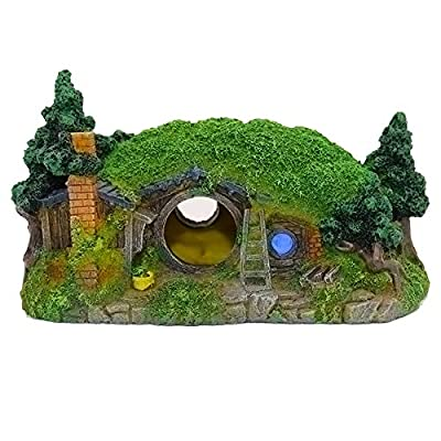 Ulifery Aquarium Decoration Hobbit House Small Cave for Betta Hiding Reptile Hole House Shelter Fish Tank Ornament Rockery Landscaping