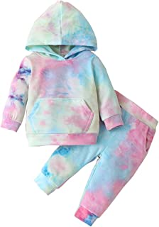 Toddler Baby Girl Clothes Tie Dye Long Sleeve Sweatshirt Hoodie Tops Pants 2PCS Outfit Fall Winter Clothing Set