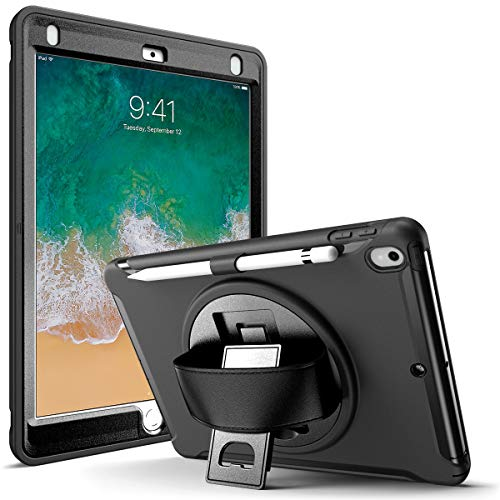 KARYLAX Complete Anti-Shock Case with Built-in Screen Protector, Front and Back Cover with Stand (Black) for Apple iPad Air 3rd Gen 10.5