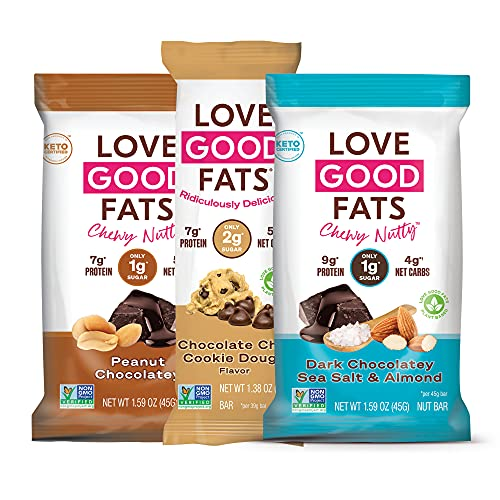 Love Good Fats Bars – Plant - Based Variety Pack – Keto-Friendly Protein Bars with Natural Ingredients – Low Sugar, Low Carb, Non GMO, Gluten & Soy Free Snacks for Ketogenic Diets – (12 Count)