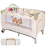 Lit bébé Multifonction Pliable, Table à langer avec rebords, Poche de rangement Hamac, Barre de jouets (équipée de 3 jouets), Sac de transport (Beige)