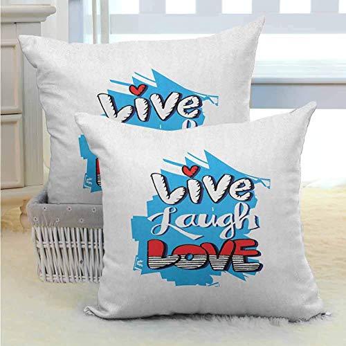 Live Laugh Love Funda de Almohada para Cama Resumen Grunge Graffiti Felicidad Invocando Mensaje Diseño de Arte de Pared Hipoalergénico Resistente a Las Arrugas para sofá/Cama/Sofá 2PCS Azul Rojo N