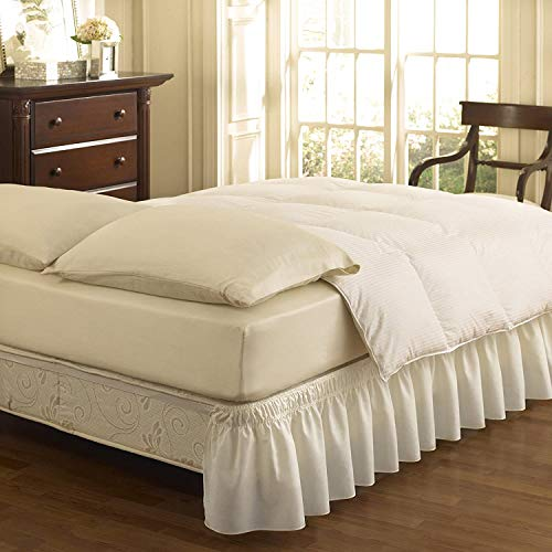 Pride Beddings- Solid Wrap Around Easy On/Off Dust Ruffle Design 15''Inch Drop Bedskirt - King- White