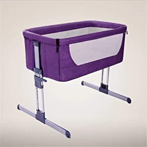 ZXL Baby Portable Bed Connected with Parents  Normal Big Bed Infant Travel Sleeper Cot Breathable Folding Crib Purple