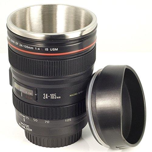 Unbekannt Kameralinsentasse, kaffeebecher für Kameraliebhaber EOS 24-105mm Modell, Edelstahl + Geschenkhülle DC139 by RIVENBERT