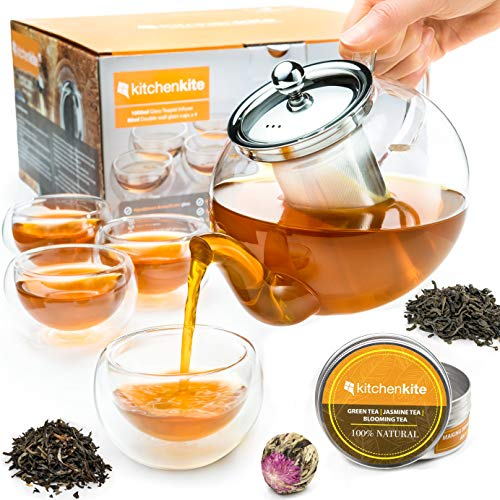 Tea Kettle Infuser Stovetop Gift Set  Glass Teapot with Removable Stainless Steel Strainer Microwave amp Dishwasher Safe Tea Pot with Blooming Loose Leaf Tea Sampler amp 4 Double Wall Cups Tea Maker