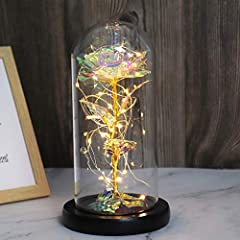 Unique Design - Beauty and The Beast Rose Kit. Red flanette rose, blue flanette rose and colorful gold foil rose, colorful led strip lights, cute glass dome with black wooden base(excluding battery). Galaxy Rose Light up's Size - 8 inches height, 3.5...
