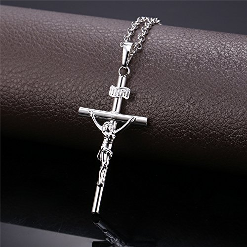 GoldChic Jewelry Customized Cross INRI Crucifix//Miraculous Virgin Mary Charm Pendant with Chain Christain Jewelry Women Men 18K Gold//Black Rhodium Plated//Stainless Steel Jesus Necklace