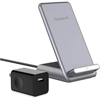 Yootech 7.5W/10W/15W Fast Wireless Charger,7.5W Wireless Charging Stand with QC3.0 Adapter Compatible iPhone SE 2020/11/11 Pro/11 Pro Max,15W LG V30/V35/G8,10W Galaxy S20/S10,Pixel 3/4XL