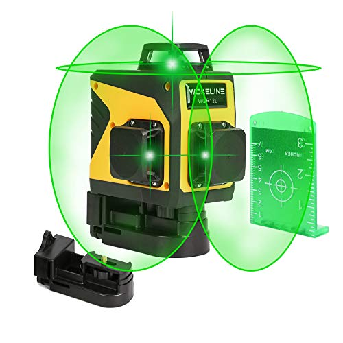3D Green Line Laser, Rechargeable Self Leveling Laser Level for Construction, USB Charging Auto Leveling 3 Plane Level Kit with 12 Lines, 360 Degree Alignment Laser Leveler Tool, Laser Level: CLASS II