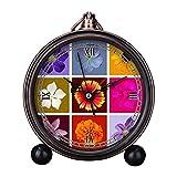 girlsight Art Retro Salón decorativo sin tictac, fácil de leer, cuarzo, mesita de noche analógica, reloj despertador con diseño floral B4567. Juego de hermosas flores