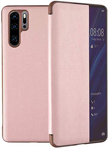 Suhctup Hülle Kompatibel Samsung Galaxy A70 Hülle,Smart Case-Ansicht, Spiegel Cover Clear View Crystal Case Flip Intelligenten Handyhülle etui Huelle mit Frau Mirror Tasche Ledertasche