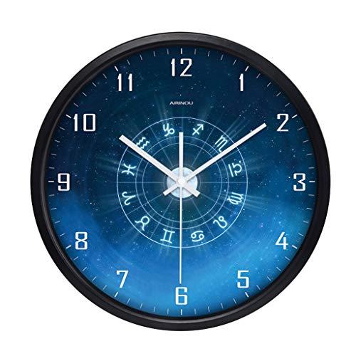 Everyday home Grande horloge murale décorative - Balayage en quartz - Couverture en verre - Cadre métallique rond de 10/12/14 pouces - Fonctionne sur piles - Visage bleu