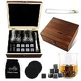 Whisky Piedras, Piedras de Whisky, 8 Piezas de Whisky Piedras, Whisky Rocks Granito, Cubitos de Hielo Reutilizables, Caja de Regalo de Madera de Piedra de Hielo con 2 Vasos de Whisky y Posavasos
