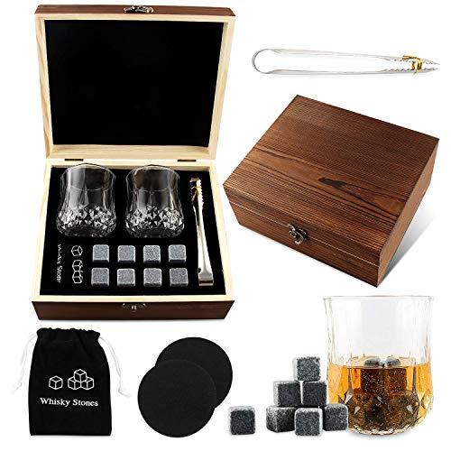 Cubetti da Whisky, 8 Pezzi Whisky Stones, Pietre di Granito Whisky, Pietre di Raffreddamento Riutilizzabili, Set Regalo in Legno Cubetti di Ghiaccio in Pietra Ollare Naturale, 2 Bicchieri da Whisky