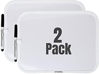 1InTheOffice White Board, Small White Board 8-1/2 x 11 Inches, Mount Whiteboard W Magnetic Strip (2 Pack)