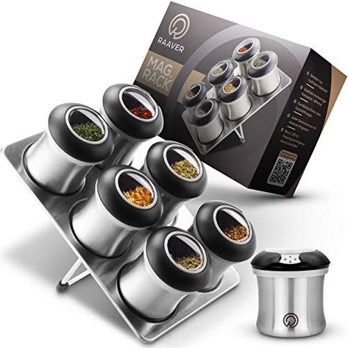 Raaver MagRack, das Original - magnetisches Gewürzregal - Lebensmittelechte Gewürzdosen aus echtem Edelstahl, mit BPA-freiem Streuaufsatz - 6 Gewürzstreuer und 1 Lagerplatte - Top Design