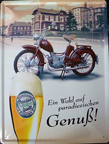 vielesguenstig-2013 Schild Blechschild 30x40cm Paradiesquell Brauerei SR2 Simson DDR Moped