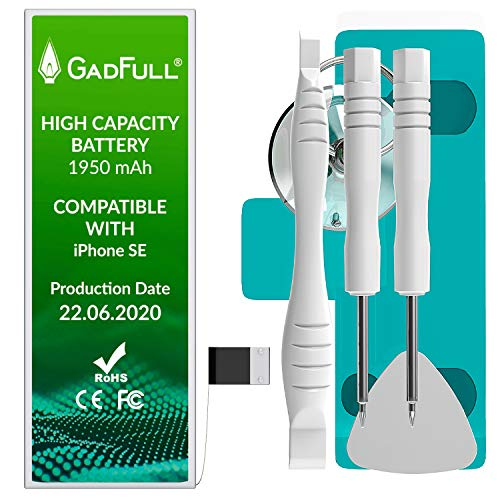 GadFull Batteria ad Alta Capacità compatibile con iPhone SE | 2020 Data di produzione | incl. Set di riparazione manuale & Kit strumenti Profi | Nuova Batteria Cellulare Extra