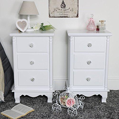 Melody Maison - Par de mesitas de noche con 3 cajones, color blanco