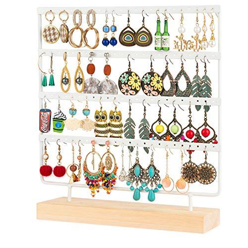 QILICZ Ohrringhalter 96 Löcher Ohrring ständer Schmuckständer, 4 Etag Metal Ohrring Organizer mit Holz Ringe Lade, Ohrstecker Display Schmuckhalter - 30x27cm Ohrschmuck Aufbewahrung