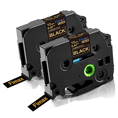 Fimax Compatible Label Tape Tze 12mm 0.47'' Replacement for Brother Tze334 Tze Tz Label Tape Gold on Black for P Touch PT-1280 PT-D210 PT-H100 PTD400 Label Makers