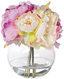 Pure Garden Peony Floral Arrangement with Glass Vase - Pink