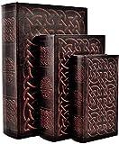 Bellaa 28175 Decorative Book Box Vintage Irish Celtic Knot Hidden Secret Storage Jewelry Keepsake Gift Set of 3