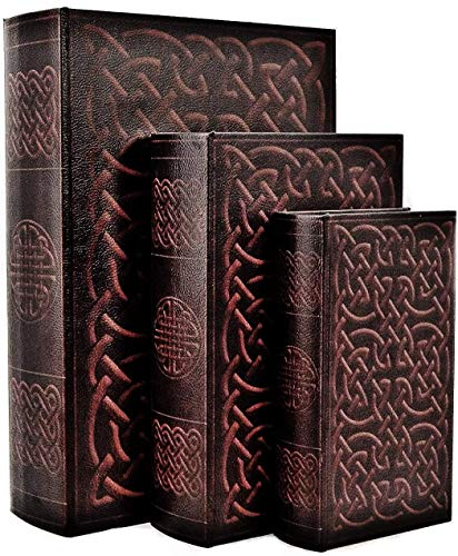 Bellaa 28175 Irish Celtic Knot Book Box Hidden Secret Storage Set of 3