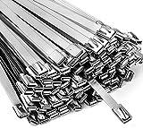 Neojao Metal Zip Ties,100 Pcs 11.8 Inch,304 Stainless Steel Zip Ties Multi-purpose Metal Cable Ties-Suitable for Outdoor chain link fence and Exhaust Wrap Zip Ties