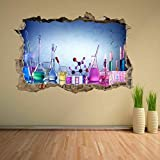 HQQPA 3D Wall Stickers Poster Chemical Science Laboratory Glassware Wall Sticker Mural Decal