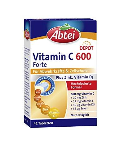 Abtei Vitamin C 600 Forte - hochdosiertes Nahrungsergänzungsmittel zur Unterstützung der Abwehrkräfte und des Zellschutzes - mit Zink und Vitamin D3 - 1 x 42 Tabletten