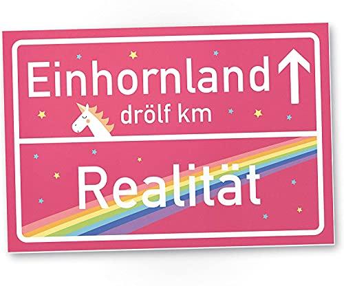 Einhorn Kunststoff Schild - Rosa Ortsschild Ortstafel Einhornland, Deko Wanddeko Geschenk...