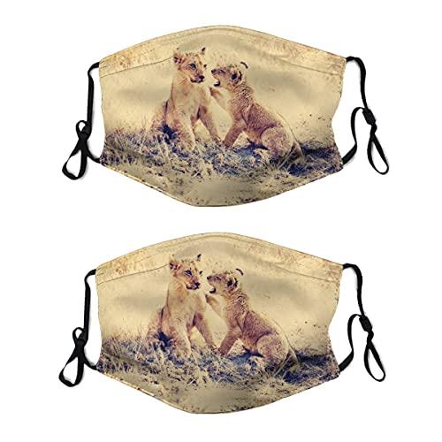2 mascarillas lavables con lazo ajustable para la oreja, diseño de cachorros, leones, hierbas, depredadores, cubrebocas, reutilizables y transpirables para hombres y mujeres