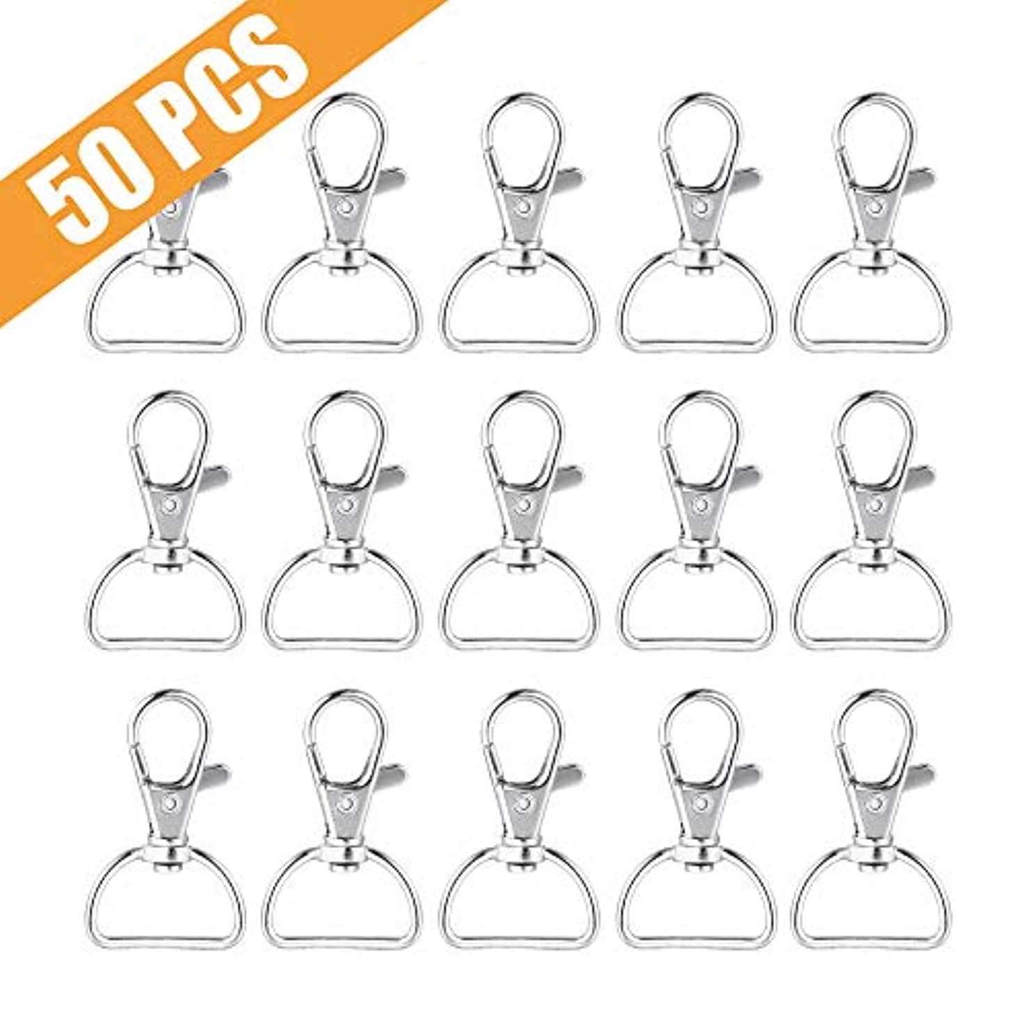 Metal Swivel Clasps Lanyard Snap Hook Lobster Claw Clasp for Jewelry Findings, Key Chain Clip, DIY Crafts. Pack of 50