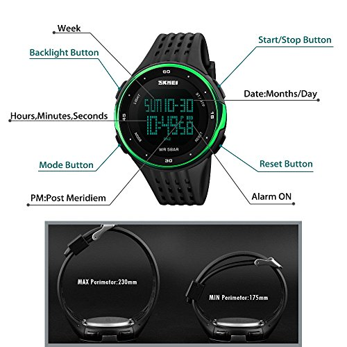 TONSHEN Mens Sport Watch Waterproof LED Outdoor Military Multifunction Electronic Digital Watch 50M Water Resistant Date Stopwatch Back Light Army Wrist Watch with Silicone Strap - Green