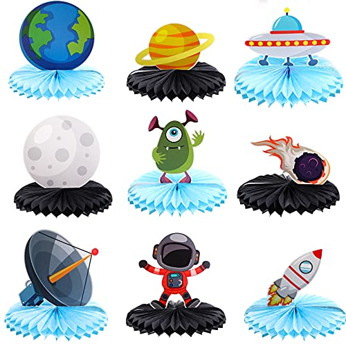 9 Centros de Mesa de Papel de Nido de Abeja de Espacio Exterior Astronauta Topper de Mesa de Panal Bola de Tama de Cometa Galaxia Cohete Extraterrestre Tierra OVNI Satélite Espacio