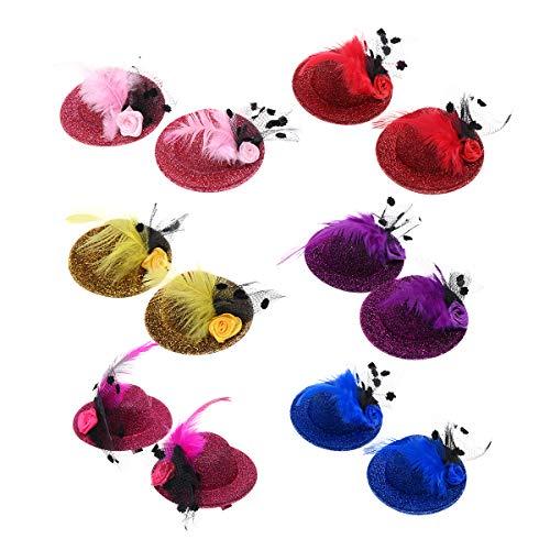 Lurrose 6 paires Top Chapeau Pince À Cheveux Glitter Plume Décor Mini Chapeaux Épingles À Cheveux Thé Partie Cheveux Accessoires pour Filles